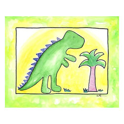 Oh How Cute Kids by Serena Bowman - Lil Green Dino, Ready To Hang Canvas Kid's Wall Decor, 20 X 24 - Part of my Lil Dino dinosaurs series. At this count I have 4 different dinosaurs series maybe 5??  I seem to have a thing about Dinosaurs.