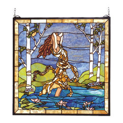 "Meyda - 22""W X 22""H Ecstasy In Woodland Stream Stained Glass Window - Designed by meyda tiffany artists and hand craftedwith a selection of colors and textures, this vision ofa fair maiden bathing in rippling azure waters beneatha dappled blue sky in a stand of moon white birches isa pleasure to behold. This beautiful window has 629pieces of hand cut stained glass that are wrapped incopper foil and soldered together. Solid brass hangingbracket and chain are included."