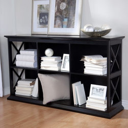 Belham Living - Belham Living Hampton Console Table Bookcase in Black - KY049-BK - Shop for Bookcases from Hayneedle.com! You won't see the Belham Living Hampton Console Table Bookcase in Black in any of your friends' homes - unless you tell them you found it at Hayneedle. It's a Hayneedle exclusive so you can be sure it's just as original as your decorating personality. Two long shelves each feature three cubby compartments providing plenty of room for your books DVDs CDs curios and much more. Each compartment has a cord/wire management hole in the back so hooking up and moving electronics is a snap. Constructed with a solid birch wood frame in a dramatic ebony black finish this console table bookcase has strong engineered wood (MDF) shelves and compartment dividers in matching black finish. The genuine veneer top also has a black finish for a cohesive contemporary look that will add richness to your decor. The sides of the unit have a modern X design that adds an eye-catching element to the console table's sturdy structure. Recommendation is not to stack more than 2 units. Assembly required. Dimensions Overall: 55.5W x 14.5D x 32H inches Compartment (each): 17W x 13.125D x 12.31H inches About Belham Living Belham Living builds catalog-quality furniture in traditional styles at a price that actually makes sense. By listening to our customers and working closely with great manufacturers we build beautiful pieces worthy of your home. Rich wood finishes attention to detail and stylish lines that tie everything together are some of the hallmarks of a Belham Living piece. From the living room or bedroom through the kitchen and out onto the deck there's something from an incredible Belham collection perfect for your style.