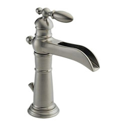 Delta - Delta 554LF-SS Victorian Single Handle Centerset Lavatory Faucet (Stainless) - Featuring an old-fashioned appeal and smooth, enduring curles, the Victorian series gives your bath a sophisticated style that is unique.