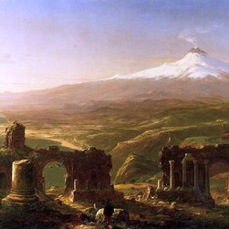 "Thomas Cole Mount Etna from Taormina - 16"" x 24"" Premium Archival Print - 16"" x 24"" Thomas Cole Mount Etna from Taormina premium archival print reproduced to meet museum quality standards. Our museum quality archival prints are produced using high-precision print technology for a more accurate reproduction printed on high quality, heavyweight matte presentation paper with fade-resistant, archival inks. Our progressive business model allows us to offer works of art to you at the best wholesale pricing, significantly less than art gallery prices, affordable to all. This line of artwork is produced with extra white border space (if you choose to have it framed, for your framer to work with to frame properly or utilize a larger mat and/or frame).  We present a comprehensive collection of exceptional art reproductions byThomas Cole."