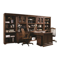 "Hooker Furniture - Brookhaven Peninsula Desk - White glove, in-home delivery included!   Includes furniture assembly!  Peninsula Desk only. (Shown with Brookhaven modular wall system underneath the Open Hutch.) Highly Distressed Medium Clear Cherry Finish.  Consists of: Desk Top/End Panel and Base Bookcase  Desk Top/End Panel - 60"" w x 32"" d x 29 1/2"" h  Two drawers on each side.  Dropfront drawer area: 25"" w x 11 1/2"" d x 2 1/2"" h  Knee Space area: 23 3/4"" h  Base Bookcase - 32"" w x 23 1/4"" d x 30 1/4"" h  One adjustable shelf; levelers."