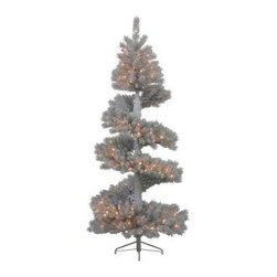 7 ft. Silver White Spiral Dura-Lit Christmas Tree - The 7 ft. Silver White Spiral Dura-Lit Christmas Tree shakes up your holiday decor with a twist of festive fun. This tree features a PVC construction with realistic branches and tips and a striking white and silver color tone. Clear mini-lights brighten up your surroundings while its spiral design provides a unique look to any traditional tree setting.Don't Forget to Fluff!Simply start at the top and work in a spiral motion down the tree. For best results, you'll want to start from the inside and work out, making sure to touch every branch, positioning them up and down in a variety of ways, checking for any open spaces as you go.As you work your way down, the spiral motion will ensure that you won't have any gaps. And by touching every branch you'll create the desired full, natural look.About VickermanThis product is proudly made by Vickerman, a leader in high quality holiday decor. Founded in 1940, the Vickerman Company has established itself as an innovative company dedicated to exceeding the expectations of their customers. With a wide variety of remarkably realistic looking foliage, greenery and beautiful trees, Vickerman is a name you can trust for helping you create beloved holiday memories year after year.