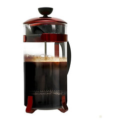 EPOCA - Classic 8 Cup Coffee Press - Red - Nothing beats Primula's 8 cup Classic Coffee Press when it comes to delivering a rich, elegant, satisfying cup of coffee. This French press is the standard that others are judged by. Sophisticated and stylish, this design is made with high-quality durable glass and stainless steel parts framed with Chrome accents. Primula's Coffee Press has a heat-resistant knob and plunger that securely fits atop the chrome lid. The handle is made of sturdy hard plastic that gives you a firm, reliable grip that stays cool in your hand while pouring your hot coffee. The carefully designed fitted lid and angled spout allows for clean, even pours. Each Primula Coffee Press has an advanced filter plunger that provides you with superior brewing capabilities regarding coffee strength. This includes a filter spiral plate, a fine stainless-steel mesh filter with cross plate, and an easy to use plunger. All the parts are designed to make sure your coffee grounds are kept in the beaker and out of your cup. It's so easy to use that even a beginner can make a perfect cup of French press coffee right out of the box! Dishwasher safe and easy to clean.