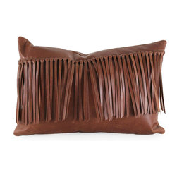 """Pfeifer Studio - Leather Fringe Pillow, 18""""x12"""" - Bring the charm of the Wild West into your interior with this handmade leather fringe pillow. It has a matching leather back, closes with a hidden garment zipper and is fitted with a medium-fill feather and down inner."""
