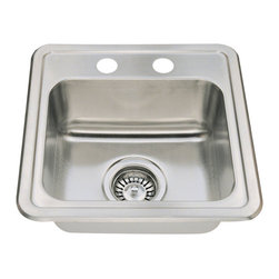 "MR Direct - MR Direct T1515 Topmount Single Bowl Stainless Steel Sink - The T1515 single bowl topmount sink is constructed from 304 grade stainless steel and is available in 20 gauge thickness. The surface has a brushed satin finish to help mask small scratches that occur over time and keep your sink looking beautiful for years. The overall dimensions of the T1515 are 15"" x 15"" x 6 1/4"" and an 18"" minimum cabinet size is required. This sink contains a 3 1/2"" centered drain, is fully insulated and comes with sound dampening pads. As always, our stainless steel sinks are covered under a limited lifetime warranty for as long as you own the sink.  Strainers not included."