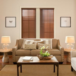 Kirsch - Kirsch Walnut Faux Wood Blind - Kirsch Faux Wood blinds are finished in a beautiful deep walnut to coordinate with most wood trims. The durable, moisture-resistant slats are perfect for high-humidity environments and spaces with a lot of routine wear and tear.