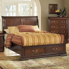 "Acme Furniture - Hennessy Queen Bed in Cherry - Hennessy Queen Bed Cherry; Dimensions: 55""H"