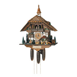Schneider Cuckoo Clocks - 8-Day Black Forest House Cuckoo Clock w Two Melodies - Chalet style. Two melodies. Automatic night shut-off switch. Two beer drinkers and kissing couple and dog. 2.36 music plays on the full hour. 8-day rack strike movement. Wooden cuckoo calls and strikes every half and full hour. Water wheel rotates and hand crafted wooden couple. When cuckoo calls, bell in tower rings. Wooden cuckoo, dial with roman numerals and hands. Solid wood hand crafted and hand painted dancing couples. Detailed and carefully crafted black forest style house. Made from wood. Antique finish. Made in Germany. 18.1 in. W x 11.4 in. D x 23.6 in. H (23.4 lbs.). Care Instructions