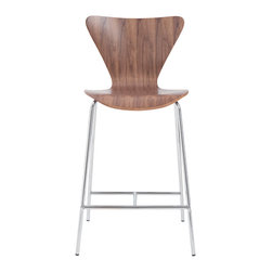 Eurostyle - Tendy-C Counter Chair (Set Of 2)-Wal/Chr - Modern style doesn't have to be trendy. You'll love the way this classic chair design looks in your updated kitchen. The clean cut form is refined and stylish, but will stand the test of time.