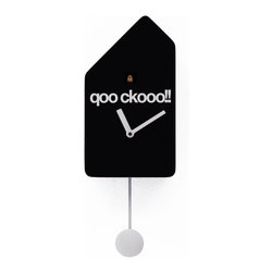 Progetti - Q01 1695 Black Wall Clock - Cuckoo clock made in wood. Battery quartz movement. The Cuckoo strike is switched off automatically during the night controlled by a light sensor.