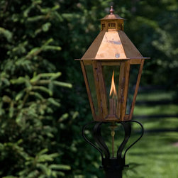 "Corvino Post Mount Gas Lantern - 32"" - Strong linear design makes the Corvino Post Mount Lantern an easy focal point for your outdoor living space. The soft glow of a natural flame will create an inviting mood at your home's entrance."