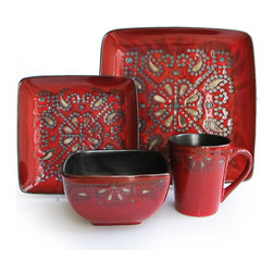 Jay Import Co - Marquee Red 16 Piece Dinnerware Set - Your eclectic style won't be satisfied by blah bowls and pale plates. To the red-hot rescue: This 16-piece dinnerware set (full service for four) in an eye-popping, gold-touched print will bring dynamic flavor to everyday meals.