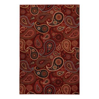 None - Rubber Back Red Paisley Floral Non-Skid Area Rug (3'3 x 5') - This colorfully printed Hammam area rug was designed to be stain resistant and features a non-skid rubber backing,alleviating the need for a rug pad. The contemporary paisley design is complemented by a rich red color palette for an attractive accent.