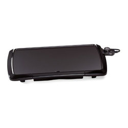 National Presto - Cooltouch Griddle - Offers sleek European styling with a cool-touch base protecting the front and sides. Large cooking surface and appetizer warming tray. Built-in slope and backstop ledge help drain grease away from food and into the removable drip tray. 120 volts AC, 1500   watts.        Black  Size In=10-1/2 x 20-1/2