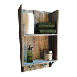 (del)Hutson Designs - Sweet Southern Charm 2, White Wash - This shelf is made 100% out of reclaimed wood. We use old barn and fence wood to bring out the rustic appeal. The birds below are solid iron and work great to hold your wet towels. Accessories not included.