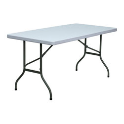 Flash Furniture - Flash Furniture 60 Inch Blow Molded Plastic Folding Table - DAD-YCZ-152-GG - This incredibly valued folding table is durable for commercial and home use. This multi-purpose table can be used in hotels, banquet rooms, training rooms and seminar settings. Setup this table in a snap, and then store it virtually anywhere! [DAD-YCZ-152-GG]