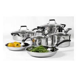 None - Denmark 10-piece Stainless Steel Cookware Set - Add the versatile Denmark 10-piece cookware set to your kitchen,featuring a mirror polished finish. The pieces in this set highlight a tri-ply 18/10 stainless steel construction,with riveted handles and a non-stick cooking surface.
