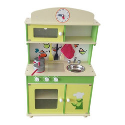 Berry Toys - Berry Toys My Cute Green Wooden Play Kitchen - W10C034 - Shop for Cooking and Housekeeping from Hayneedle.com! Want to keep your kids out from under your feet in the kitchen? Give them the Berry Toys My Cute Green Wooden Play Kitchen. The dual-rack oven has a windowed door so your child can keep an eye on what he's cooking. The countertop includes a two-burner range sink and colorful backdrop with accessory hooks. (The sink is removable for easy clean-up.) Above the range you'll find an open shelf and a microwave which also has a windowed working door. This adorable kitchen set also comes with cooking accessories including two pans three utensils and an oven mitt. When play time is over all the accessories store neatly on hooks and in the cabinet under the sink. Get your own cooking done in the kitchen while your child enjoys the Berry Toys My Cute Green Wooden Play Kitchen.About Berry ToysBased in Chino Hills California Berry Toys is a leading manufacturer of children's toys. Berry Toys aims to educate children through play and their toy selection includes play kitchens play foods musical instruments play tools and more. If you want affordable pricing quality customer service and educational toys that are manufactured according to the highest standards Berry Toys can deliver.