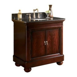 Kaco Mount Vernon 30-in. Single Bathroom Vanity in Merlot with Optional Countert - Enhance your bathroom decor-style with the Kaco Mount Vernon 30-in. Single Bathroom Vanity in Merlot with Optional Countertop. Its antique appeal is highlighted by its rounded bun feet, paneled door and brushed nickel hardware. Besides, a solid hardwood construction, with a water-resistant finish, makes this unit tough and durable. Leveling feature on its legs allows you to steady this vanity on uneven floors. Keep your bathroom essentials in its roomy compartment, hidden behind two doors, that has an adjustable shelf and removable hardwood drawer.Kaco International's partnering with Sherwin-Williams and its high-end furniture finishing capabilities is undoubtedly a winning combination.About Kaco International Inc. Manufacturing and importing high-quality kitchen islands and bathroom vanities, Kaco international Inc. provides premium top quality products. Hailing from North Carolina with over 30 years of service experience, they bring an unmatchable presence to the industry and strive to keep their customers completely satisfied by providing top-notch service and product quality.