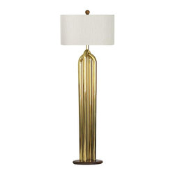 """Consigned Mid-Century Brass Tubular Floor Lamp - Exceptional modernist 1970s tubular brass floor lamp with oak base and matching oak finial. Measures 48.5"""" H to socket. The shade is not included."""