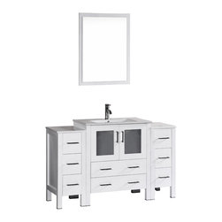 "Bosconi - 54"" Boscnoi AB130U2S Single Vanity, White - Elegance and style are made evident with this 54"" glossy white, Bosconi vanity set. The sharp modern lines are accentuated by the integrated ceramic sink and perfectly matching mirror. Features include one center cabinet with soft closing doors and two detached side cabinets with three drawers each. All spacious enough to store your towels, toiletries and bathroom accessories."