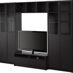 Gillis Lundgren/IKEA of Sweden/K Hagberg/M Hagberg - BILLY Bookcase combination with TV bench - Bookcase combination with TV bench, black-brown