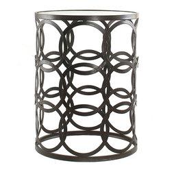 'Circles' Metal Barrel End Table -