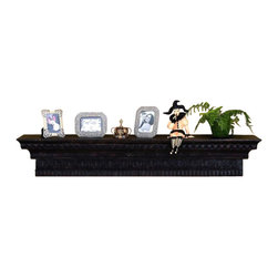 Brown Black Mantle Top or Shelf - *Brown Black Iron Mantle Top or Wall Shelf With Tole Relief Accents.