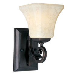Maxim Lighting - Maxim Lighting 21063FLRB Oak Harbor 1 Light Wall Sconces in Rustic Burnished - Tapered metal ribbons forged into a flowing form and finished in a heavy textured Rustic Burnished finish. The beveled soft square Frost Lichen shades enhance this bold and masculine look.