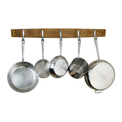 Alpine Wine Design - Wine Barrel Pot Rack - Artisan-crafted for one-of-a-kind character, this rustic and refined rack brings a touch of the wine country to your kitchen. Five stainless steel hooks hold pots and pans at the ready to help you get things cooking. Variations in wood grain, stain and aged patina render each unique.