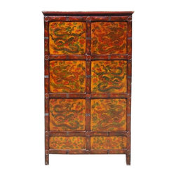 Golden Lotus - Vintage Tibetan Style Hand painted Dragons Pattern Armoire Cabinet - You are looking at a  unique Tibetan style wooden cabinet. It is made of solid elm wood and hand painted with dragon's pattern on the front side.