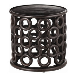 Arteriors Home - Arteriors Home Kamal Mango Wood Side Table - Arteriors Home 6472 - Arteriors Home 6472 - Circles provide the Kamal wood side table with its unique and spectacular design. Its cylinder shape is enhanced by the hand-carved wood circles that make up its base as well as the round wood top and bottom. Slightly aged espresso finish gives it the look of an exciting vintage find.