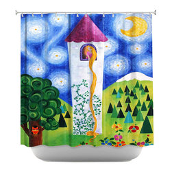 DiaNoche Designs - Shower Curtain Artistic - Rapunzels Tower - DiaNoche Designs works with artists from around the world to bring unique, artistic products to decorate all aspects of your home.  Our designer Shower Curtains will be the talk of every guest to visit your bathroom!  Our Shower Curtains have Sewn reinforced holes for curtain rings, Shower Curtain Rings Not Included.  Dye Sublimation printing adheres the ink to the material for long life and durability. Machine Wash upon arrival for maximum softness on cold and dry low.  Printed in USA.