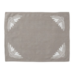 Cricket Radio - Alexandria Lotus Placemat, Set of 2, Stone/White - It's time to turn the tables. This set of two pre-shrunk linen placemats features printed lotus flowers on front and simple stripes on back so you can add at least two new looks to your dining or breakfast table. And they come in several colors so you can mix or match to your heart's content.
