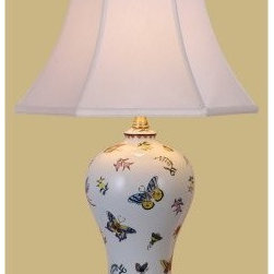 East Enterprises LPCCH1010XA Table Lamp - White - Fluttering with bright butterflies, the East Enterprises LPCCH1010XA Table Lamp - White makes for an elegant addition to your home. The porcelain body sits sturdily upon a black base. This lamp accommodates your needs with its smart, three-way socket.