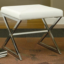 Coaster - White Transitional Ottoman - White leather like vinyl ottoman with metal legs.