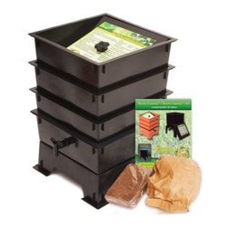 "The Worm Factory® 3-Tray Recycled Plastic Worm Composter - Black - The Worm Factory 3-Tray Recycled Plastic Worm Composter - Black is like a capsule hotel in Tokyo … except the guests are 6 000 worms and it goes in your backyard. Made from 100% recycled plastic this composter allows worms to happily nosh 24/7 on your kitchen waste and whatnot providing you rich organic material. Odorless well-organized green … and best of all the worms will eat your junk mail. Or bills. What is The Worm Factory and how does it work?Unique and ingenious the Worm Factory is composter comprised of stacking trays in which worms eat your scraps and leave behind rich organic material. Fill each tray with scraps like vegetables fruits egg shells coffee grounds paper and junk mail and in turn you'll get nutrient-rich compost for your garden. Worm castings are known to be the very best compost available. Your plants will thrive with this all-natural compost. Worms start in the bottom tray and work upward as they break down the waste. The worms leave behind the stuff and you don't even have to sort through the wiggly friends at all as they're already on the next tray up. Plus nutrient-rich moisture is captured in the collection tray and can be used as liquid fertilizer known as """"worm tea."""" What are the benefits of using The Worm Factory? It's Compact: It stacks instead of spreading out so if you're short on space no worries. The Worm Factory takes up a minimal amount of space. Odorless: With a smart ventilation lid and specific suggestions in the instruction manual The Worm Factory remains odorless as it works tirelessly to create rich organic material. So breathe easy! Easy to Manage: The trays are lightweight and easy to stack and move and the accompanying instruction manual is chock full of suggestions to make composting easy and seamless. Saves Time: Forget running out to your composter to tumble and turn it! Let the worms do the work for you. They'll happily munch their way through your scraps and even junk mail and you reap the benefits of what they leave behind. They don't stop either so the rate of compost is faster. Those babies can nosh up to 8 pounds of food per week providing you a whole tray of nutrient-rich castings every month. That's efficiency."