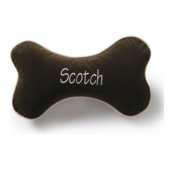 Frontgate - Additional Fleece Bone Pillow for Comfy Bed Dog Bed - The first letter of your monogram will be uppercase, the rest will be lowercase. Non-removable cover; spot clean. Please note, personalized items are nonreturnable. Allow 3-5 additional days for delivery. Our Personalized Bone Dog Pillow is crafted of plush, breathable microvelvet. This decorative dog pillow will keep your pet comfortable in all seasons. . . . .