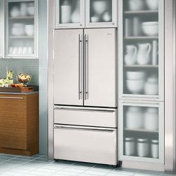 GE Monogram French Door Refrigerator - GE Monogram French Door Refrigerator - Counter depth; Frosted glass cabinets; Tile backsplash