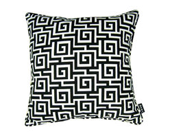 Lava - Greek Black 18 x 18 Pillow (Indoor/Outdoor) - 100% polyester cover and fill. Made in USA. Spot clean only. Safe for use indoors or out.