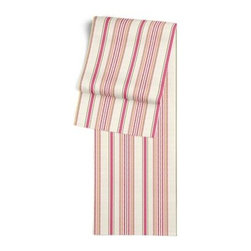 Pink & Green Stripe Custom Table Runner - Get ready to dine in style with your new Simple Table Runner. With clean rolled edges and hundreds of fabrics to choose from, it's the perfect centerpiece to the well set table. We love it in this breezy linen stripe of bright pink, lime green, yellow and ivory.  Traditional with a candy twist.