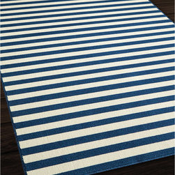 None - Indoor/Outdoor Navy Striped Rug (8'6 x 13') - Create the ultimate indoor or outdoor oasis with the bold and modern colors of this rug. This rug has a striped pattern in navy blue and white.
