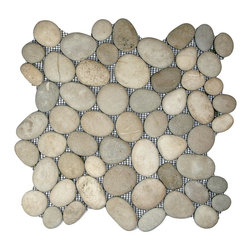 "CNK Tile - Java Tan Pebble Tile - Each pebble is carefully selected and hand-sorted according to color, size and shape in order to ensure the highest quality pebble tile available.  The stones are attached to a sturdy mesh backing using non-toxic, environmentally safe glue.  Because of the unique pattern in which our tile is created they fit together seamlessly when installed so you can't tell where one tile ends and the next begins!     Usage:    Shower floor, bathroom floor, general flooring, backsplashes, swimming pools, patios, fireplaces and more.  Interior & exterior. Commercial & residential.     Details:    Sheet Backing: Mesh   Sheet Dimensions: 12"" x 12""   Pebble size: Approx 3/4"" to 2 1/2""   Thickness: Approx 1/2""   Finish: Natural Tan"