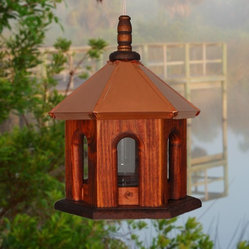 Bird Feeder Hanging Copper Roof Stain Wood By BeeGracious