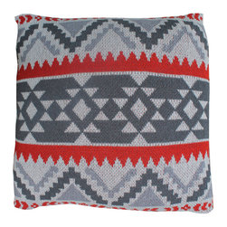 Zyanya Pillow Cover in Gray and Red - Let the warmth radiate from your sofa with this Zyanya Pillow Cover. This item is made from 80% recycled cotton and has an envelope back for easy access. Whether you love sunset and its kaleidoscope of colors or the satisfaction of being eco-conscious, its bold pattern will bring a burst of color to any room.