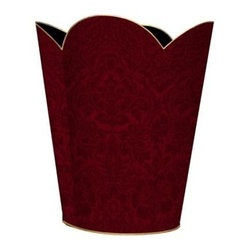 Marye-Kelley - Cranberry Red Damask Wastebasket - Cranberry Red Damask Wastebasket