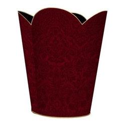 Marye-Kelley - Cranberry Red Damask Wastebasket - Cranberry Red Damask Wastebasket