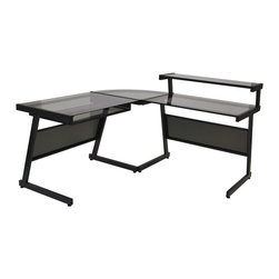 Eurø Style - L-Shaped Desk in Graphite Black - This L-Shaped Desk in Graphite Black by Eurø Style will add a touch of style and function to your home/office.