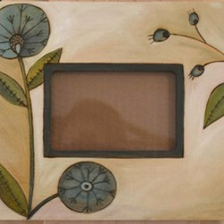 Sarah Grant / Sticks Furniture - Sticks 4x6 Picture Frame Green ~ Designed Fall 2013 - Muted green hues and soft shading on this hand carved and hand painted 4x6 frame give this piece an earthy and natural vibe. A gorgeous addition to any collection.